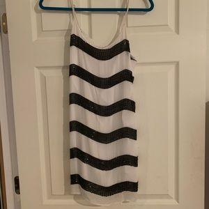 Alice + Olivia black and white striped slip dress